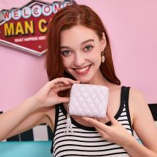 ANMLY/安魅力錢包女短款韓版簡約菱形格女式錢包學生流蘇拉鏈零錢包A8046