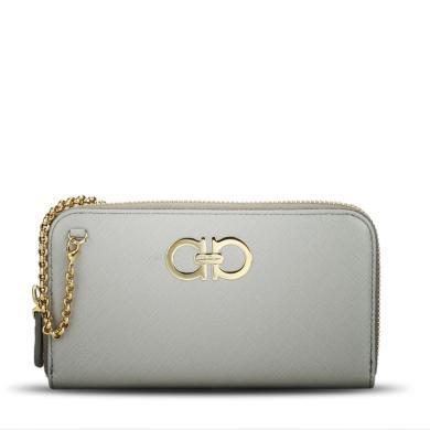 [支持购物卡]Ferragamo/菲拉格慕女包 时尚潮流Double Gancio经典短款手拿钱包