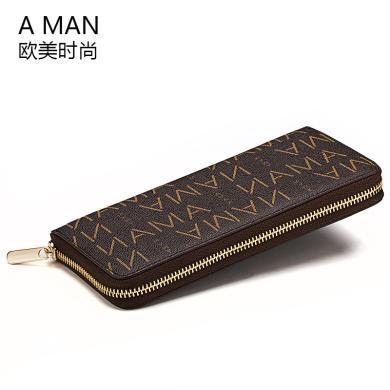 Aman品牌女士錢包歐美潮長款拉鏈春夏手拿包女款皮夾時尚多卡位大 80053A