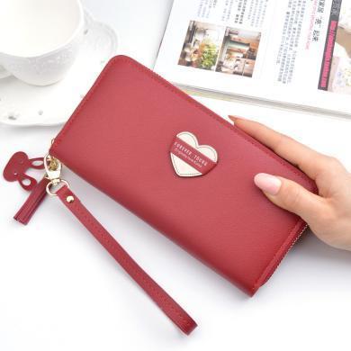 搭歌钱包女士长款拉链钱夹2019新款日韩时尚大容量零钱流苏手机手拿包Y-2052长