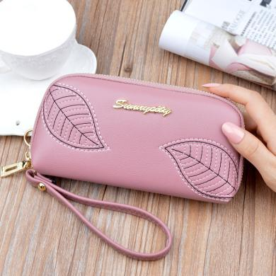 搭歌新款手包女绣花叶子女士长款拉链手拿钱包时尚零钱包大容量手机包C05