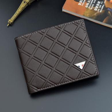 搭歌新款男士钱包短款青年格子多卡位薄软皮夹零钱包三折钱夹1678-1短款