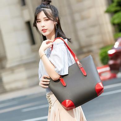 搭歌 新款歐美時尚新款女士包簡約拼接大包手提單肩包  JY8827