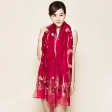 JX真丝羊毛混纺刺绣丝巾女拼接色银杏花朵围巾长空调大披肩SJ1929