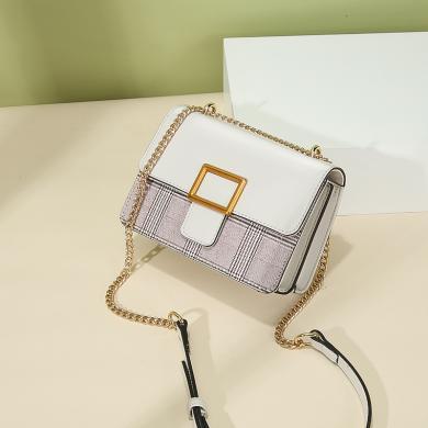 JIANXIU 新款撞色小包時尚包包女單肩斜挎包百搭鏈條包夏季小方包 P502
