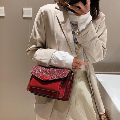 搭歌 感亮片包包女2019新款潮韓版單肩漆皮鏈條包斜挎包  D33438