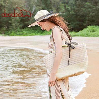 DOODOO 編織女包2019新款時尚手提草編包ins大容量度假沙灘帽套裝D9091
