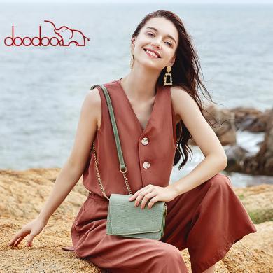 DOODOO 鱷魚紋小方包包女2019新款韓版時尚女包單肩斜挎百搭D9300