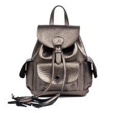 海谜璃新款时尚学院风女士双肩包搭扣抽带手提包女包6896