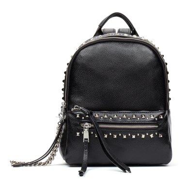 海謎璃(HMILY)新款頭層牛皮潮流女士雙肩包迷你朋克鉚釘背包時尚簡約大容量背包H7005