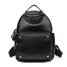 海谜璃(HMILY)新款女士头层牛皮双肩包潮流街头百搭铆钉背包时尚简约大容量背包H7013