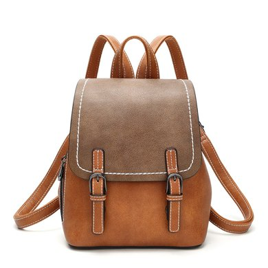 DOODOO 韓版時尚復古雙肩包新款休閑百搭學生背包旅行包D8011