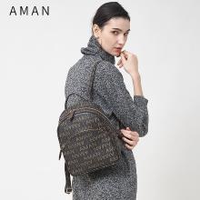 Aman包包女新款简约大气双肩包女士大容量双肩背包休闲旅行包 5013