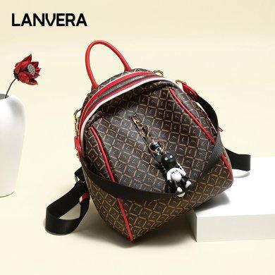 LANVERA朗薇 雙肩包女新款百搭歐美個性背包時尚旅行包大容量書包 L8210