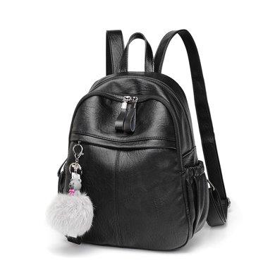 搭歌 雙肩包女士新款軟皮學生背包休閑旅游箱包送小熊掛飾DK518