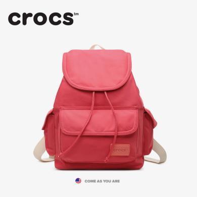 Crocs清新尼龍書包迷你旅行背包女休閑簡約雙肩包開學季
