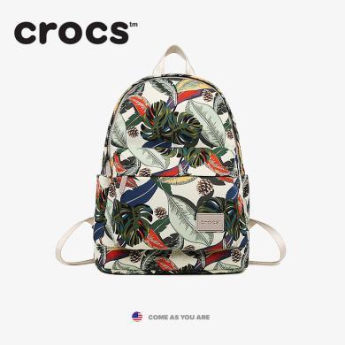 crocs包包女2019帆布休閑雙肩印花輕便尼龍書包背包雙肩包女