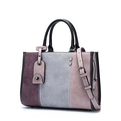 DOODOO 韓版拼接手提包新款包包時尚單肩斜挎包女包 D7158