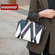 DOODOO 新款女包韩版时尚几何拼接撞色手提包可单肩斜挎6176