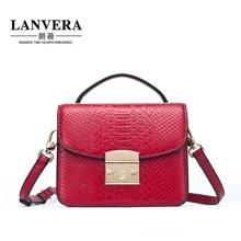 LANVERA朗薇 新款欧美牛皮女包锁扣小方包斜挎包手提小包2020