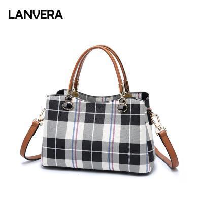 LANVERA朗薇 新款韓版時尚百搭格子包包斜跨大容量女包手提包女L8082