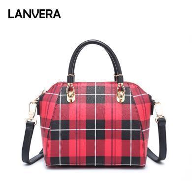 LANVERA朗薇 新款韓版時尚大氣百搭格子包包斜跨大容量包包女L8085