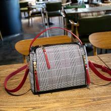 简秀新款韩版时尚英伦格子单肩女包斜挎包小包手提包W2385(大)