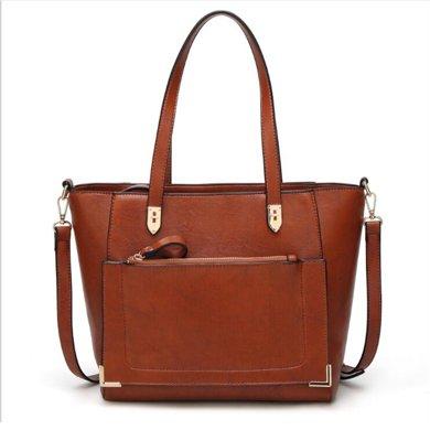 紐芝蘭 歐美女士手提包大容量單肩斜挎油皮托特包 185350