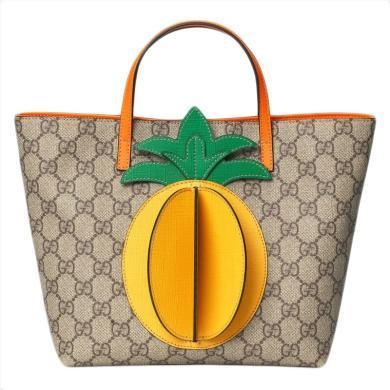 [支持購物卡](預售)GUCCI/古馳 Gucci 19春夏爆款兒童帆布手提包 菠蘿圖案 580840 KWZCN 9754  29*20*10.5