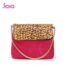Sasa/萨萨 女士单肩包挎包豹纹马绒链条包女包 SA03-H0422