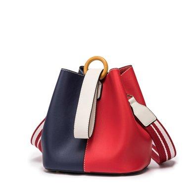 DOODOO 韓版時尚撞色水桶包新款女包百搭單肩斜挎手提包D7557