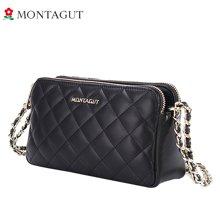 Montagut/梦特娇女包斜挎包黑色菱格时尚牛皮女包单肩包链条小包