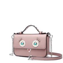 DOODOO  新款女包韩版时尚可爱风眼睛装饰手提包单肩斜挎小包包D7351