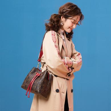 JX歐美經典時尚迷你印花小水桶包抽帶單肩包斜挎女包71080