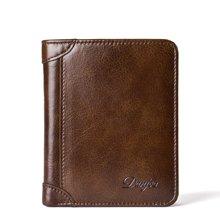 丹爵  新款时尚男包头层牛皮两折钱包短款皮夹多功能票夹礼盒装D6022-2-3棕色
