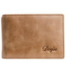 丹爵(DANJUE)新款头层牛皮男士商务休闲短款钱包 时尚简约轻薄钱夹礼盒装 D6027