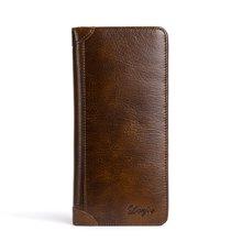 丹爵(DANJUE)新款头层牛皮简雅休闲长款钱包时尚复古男士钱夹钱包礼盒装 D6022-1