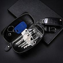 GSQ古思奇钥匙包 大容量拉链钥匙包男士门用匙包牛皮卡包汽车多功能锁匙包零钱包Y37