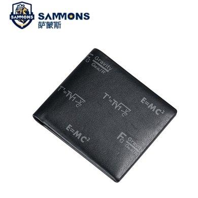 薩蒙斯 新款頭層牛皮印花錢包輕薄短款橫款錢包錢夾 350266