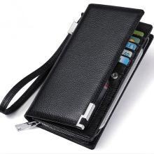 澳洲袋鼠正品男士钱包长款手拿包头层牛皮多卡位手机包