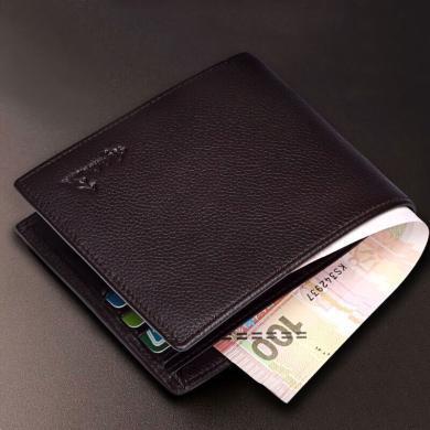 澳洲袋鼠正品男士錢包真皮男短款錢夾