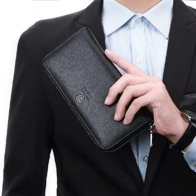斐格钱包男长款牛皮卡套零钱包多功能卡包拉链手包时?#26143;?#22841;大容量皮夹TC3003