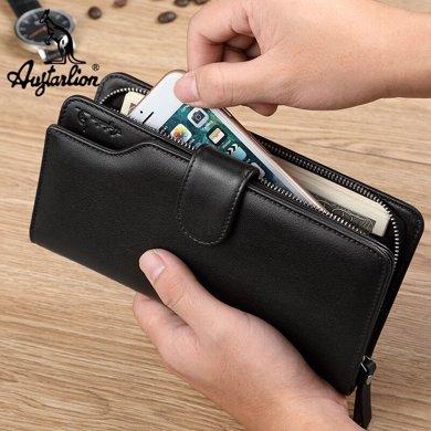 澳洲袋鼠正品男士钱包长款头层牛皮手机包手拿包