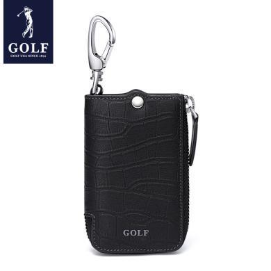 GOLF/高爾夫大容量多功能頭層牛皮拉鏈腰掛通用鑰匙包男 Q841816