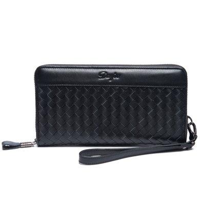 丹爵(DANJUE)新款头层牛皮男士编织手拿包时尚休闲大容量手包优雅大方男手包 D1006