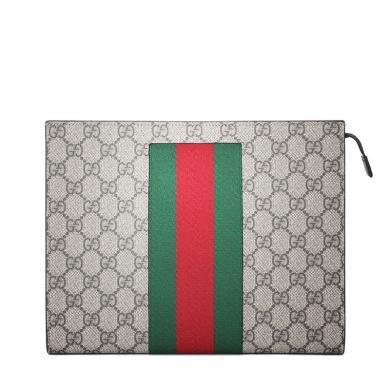[支持购物卡](部分现货)Gucci/古驰2019新款男士经典GG条纹织带印花手拿包475316   (拍下之日起10至20个工作日内寄出)