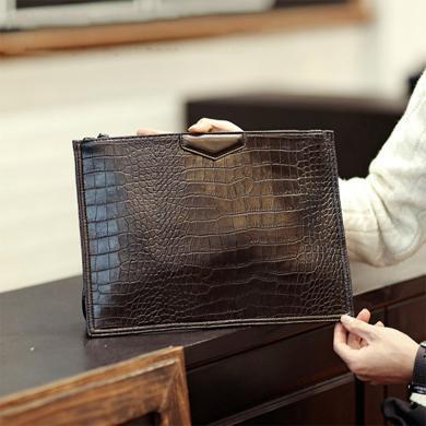 GSQ古思奇 新款鳄鱼纹手拿包文件包手抓包潮流手包潮S2016