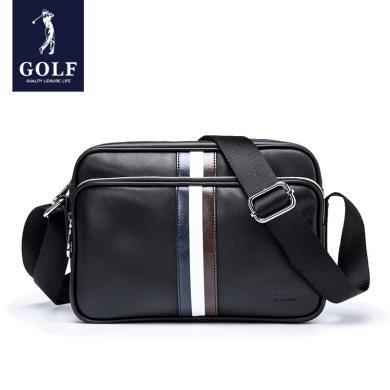 GOLF/高爾夫男包單肩包男斜挎包頭層牛皮男士包包背包休閑郵差包韓版 D8GF41908F