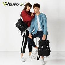 狼域 新款复古双肩包男大容量韩版运动书包女时尚潮流尼龙背包