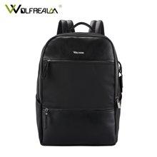 狼域 商务男双肩包尼龙布简约旅行包大容量学生笔记本电脑16寸背包